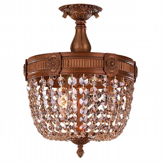 W33353FG12-GT Winchester 3 Light French Gold Finish and Golden Teak Crystal Semi Flush Mount