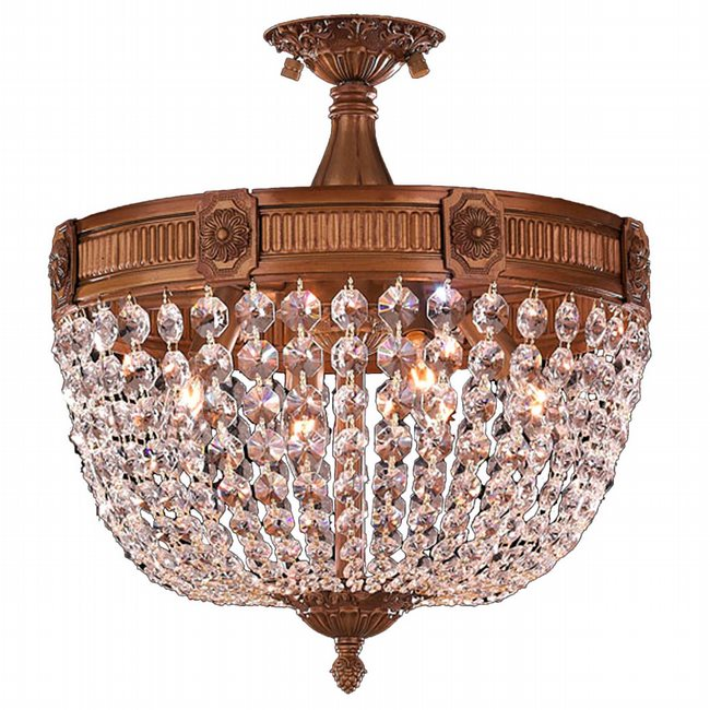 W33353FG16 CL Winchester 4 Light French Gold Finish Crystal Semi Flush Mount Ceiling