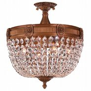 W33353FG16-CL Winchester 4 Light French Gold Finish Crystal Semi Flush Mount Ceiling Light