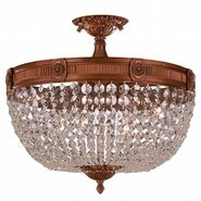 W33353FG20-CL Winchester 6 Lights French Gold Finish Clear Crystal Flush Mount