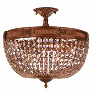 W33353FG20-GT Winchester 6 Light French Gold Finish and Golden Teak Crystal Semi Flush Mount Ceiling Light