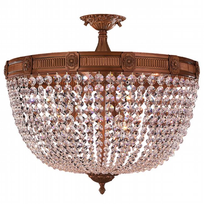 W33353FG24-CL Winchester 9 Light French Gold Finish Crystal Semi Flush Mount Ceiling Light