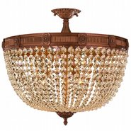 W33353FG24-GT Winchester 9 Light French Gold Finish and Golden Teak Crystal Semi Flush Mount Ceiling Light