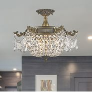 W33354B20-CL Winchester 3 Light Antique Bronze Finish Crystal Semi Flush Mount Ceiling Light