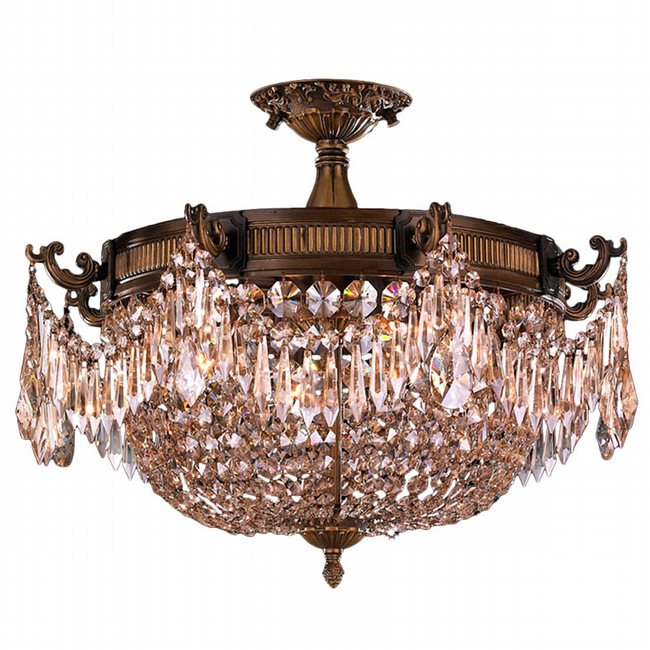 W33354B20-GT Winchester 3 Light Antique Bronze Finish and Golden Teak Crystal Semi Flush Mount Ceiling Light