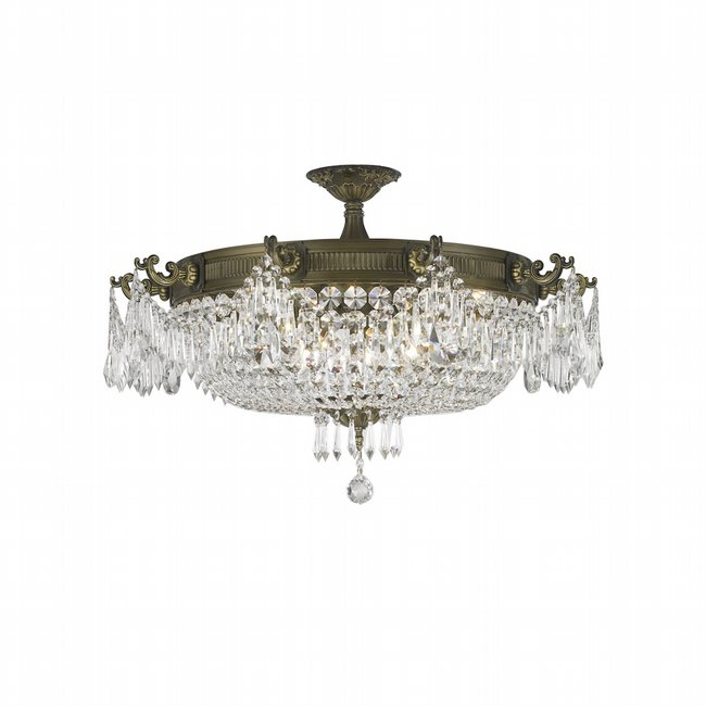 W33354B30-CL Winchester 10 Light French Gold Finish with Clear Crystal Flush Mount