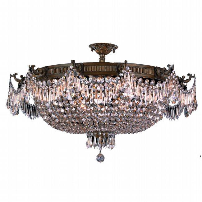 W33354B36-CL Winchester 12 Light Antique Bronze Finish Crystal Semi Flush Mount