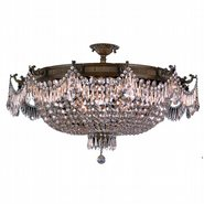W33354B36-CL Winchester 12 Light Antique Bronze Finish Crystal Semi Flush Mount