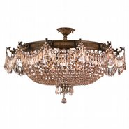 W33354B36-GT Winchester 12 Light Antique Bronze Finish and Golden Teak Crystal Semi Flush Mount