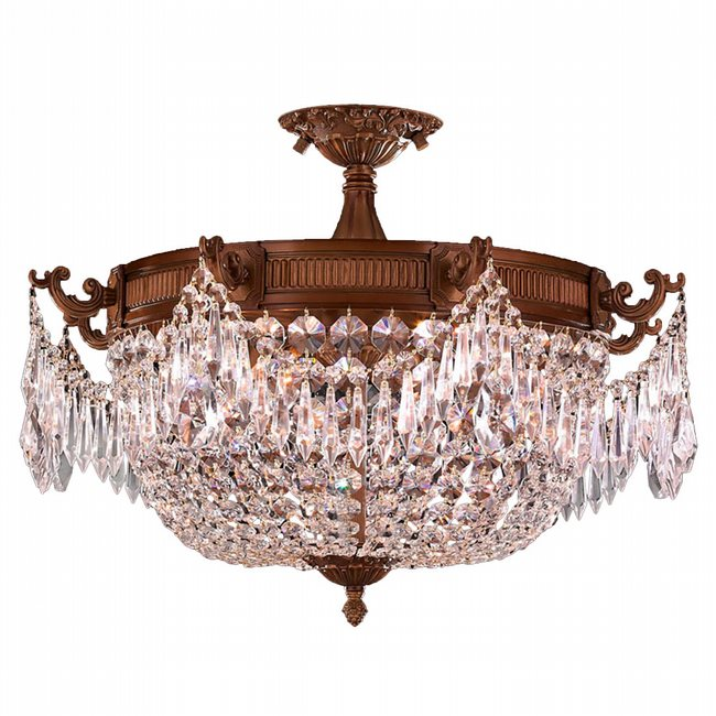 W33354FG20-CL Winchester 3 Light French Gold Finish Crystal Semi Flush Mount