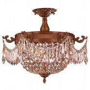 W33354FG20-GT Winchester 3 Light French Gold Finish and Golden Teak Crystal Semi Flush Mount Ceiling Light