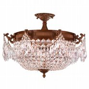 W33354FG24-CL Winchester 4 Lights French Gold Finish Crystal Semi Flush Mount