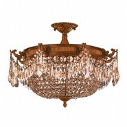 W33354FG24-GT Winchester 4 Light French Gold Finish and Golden Teak Crystal Semi Flush Mount Ceiling Light