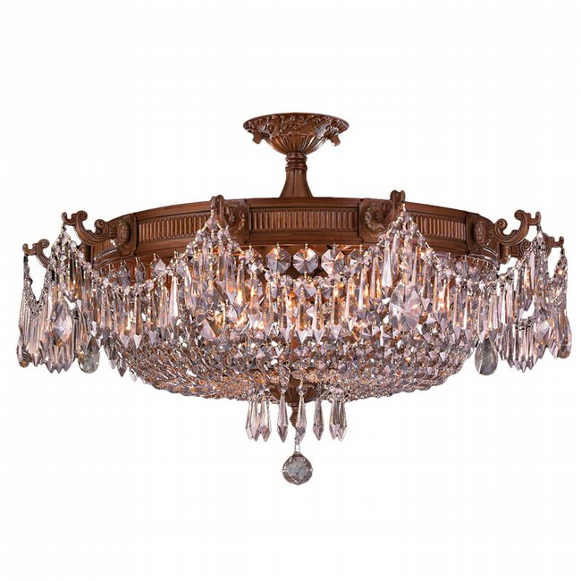 W33354FG30-CL Winchester 10 Light French Gold Finish Crystal Semi Flush Mount
