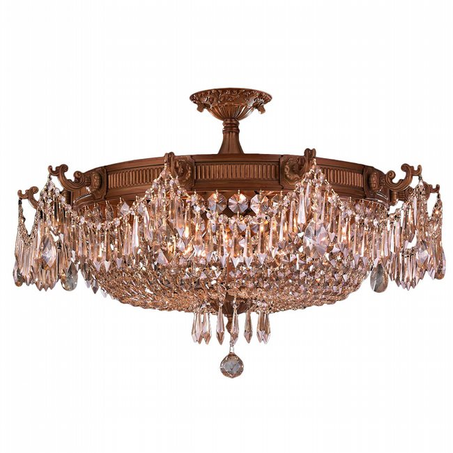 W33354FG30-GT Winchester 10 Light French Gold Finish and Golden Teak Crystal Semi Flush Mount