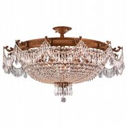 W33354FG36-CL Winchester 12 Light French Gold Finish Crystal Semi Flush Mount Ceiling Light