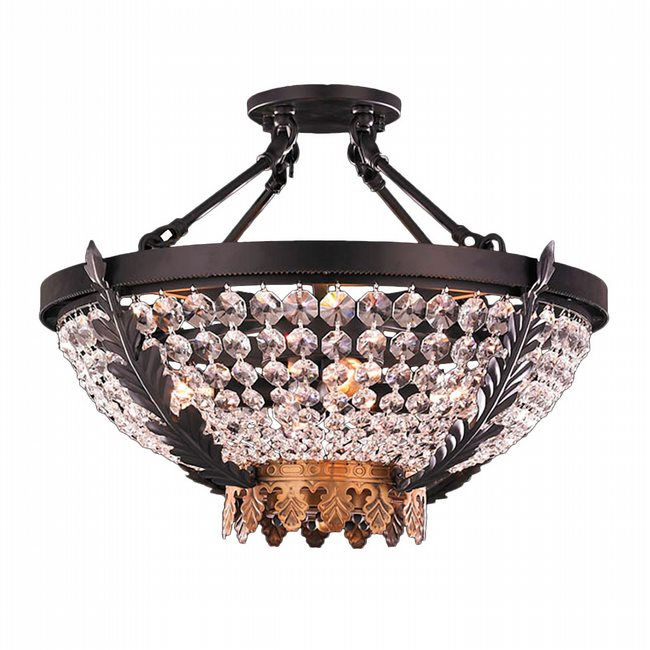 W33362BG20 Enfield 4 Light Matte Black & Gold Finish with Clear Crystal Ceiling Lighting