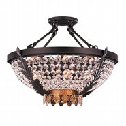 W33362BG20 Enfield 4 Light Matte Black & Gold Finish with Clear Crystal Ceiling Lighting - Discontinued