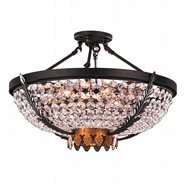 W33362BG24 Enfield 6 Light Matte Black & Gold Finish with Clear Crystal Ceiling Lighting