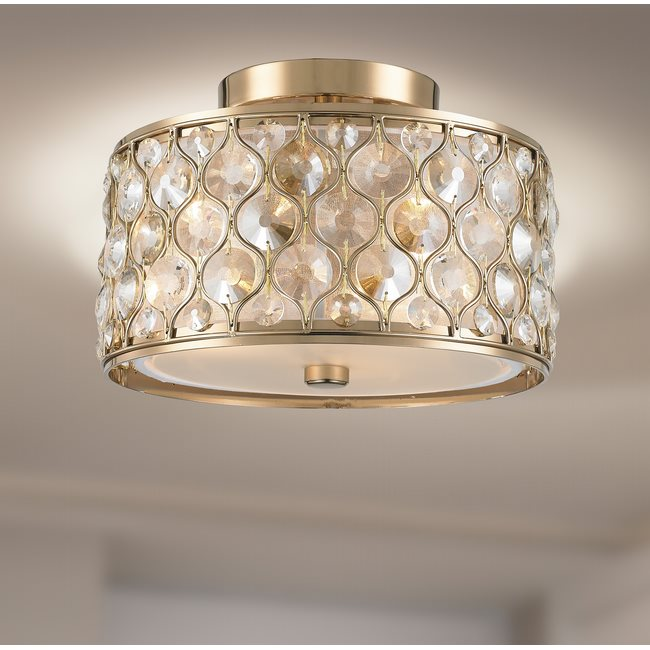w33412cg12 Paris 3 Light Champagne Finish Ceiling Light