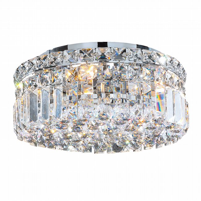 W33505C12 Cascade 4 Light Chrome Finish with Clear Crystal Ceiling light