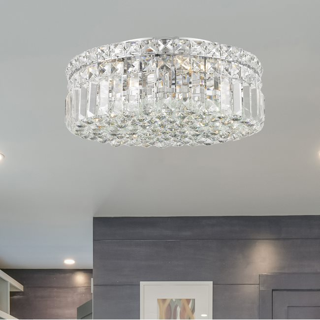 W33506C14 Cascade 4 light Chrome Finish with Clear Crystal Ceiling Light