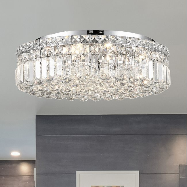 W33508C20 Cascade 6 Light Chrome Finish and Clear Crystal Flush Mount Ceiling Light