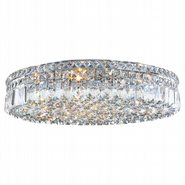 Cascade Collection 9 Light Chrome Finish and Clear Crystal Flush Mount Ceiling Light