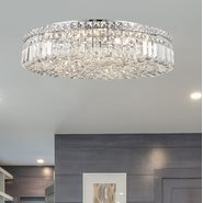 W33509C24 Cascade 9 Light Chrome Finish and Clear Crystal Flush Mount Ceiling Light