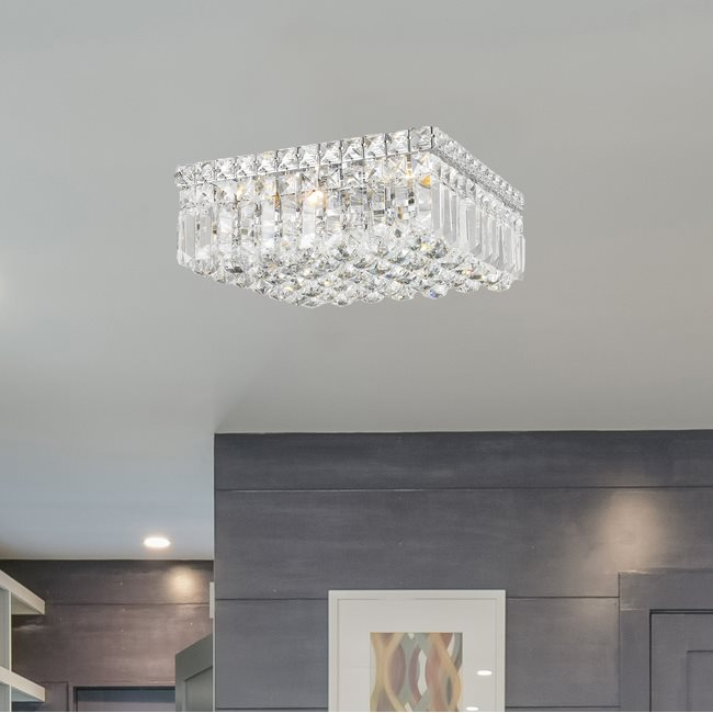 W33516C12 Cascade 4 light Chrome Finish with Clear Crystal Ceiling Light