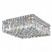 Cascade Collection 4 Light Chrome Finish and Clear Crystal Flush Mount Ceiling Light