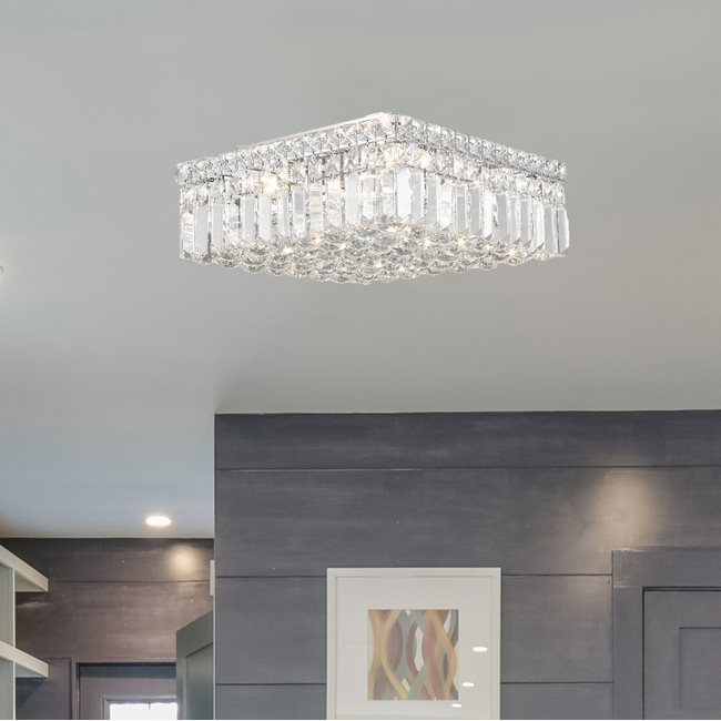 W33517C14 Cascade 4 Light Chrome Finish and Clear Crystal Flush Mount Ceiling Light
