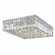 Cascade Collection 6 Light Chrome Finish and Clear Crystal Flush Mount Ceiling Light