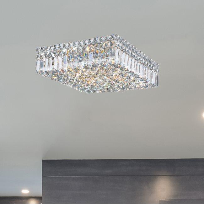 W33518C16 Cascade 6 Light Chrome Finish and Clear Crystal Flush Mount Ceiling Light