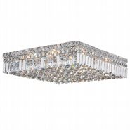 Cascade Collection 12 Light Chrome Finish and Clear Crystal Flush Mount Ceiling Light