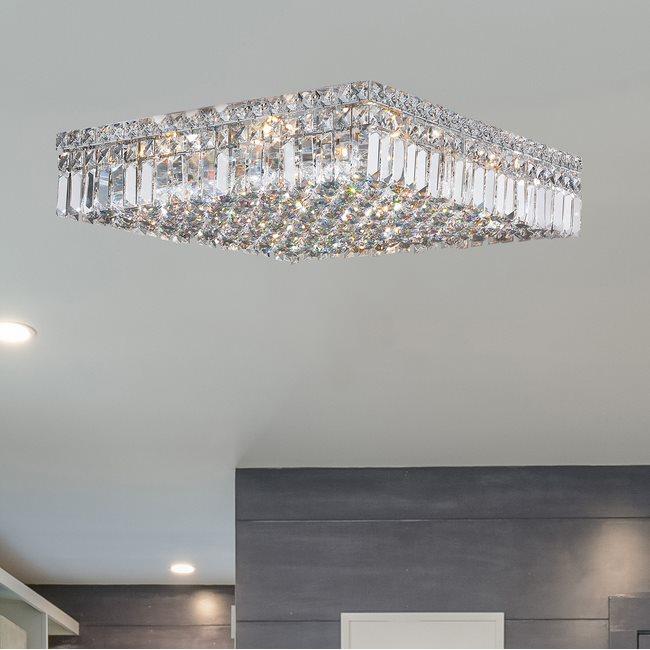W33519C20 Cascade 12 Light Chrome Finish and Clear Crystal Flush Mount Ceiling Light