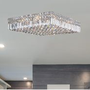 W33519C20 Cascade 12 Light Chrome Finish and Clear Crystal Flush Mount Ceiling Light