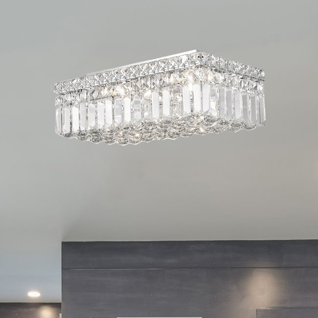 W33528C16 Cascade 4 Light Chrome Finish with Clear Crystal Ceiling Light
