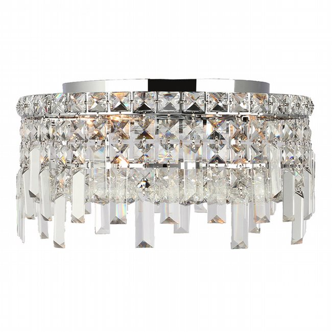 W33606C14 Cascade 4 Light Chrome Finish with Clear Crystal Ceiling Light