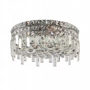 W33607C16 Cascade 5 Light Chrome Finish with Clear Crystal Ceiling Light