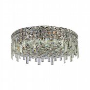 W33608C20 Cascade 6 Light Chrome Finish with Clear Crystal Ceiling Light