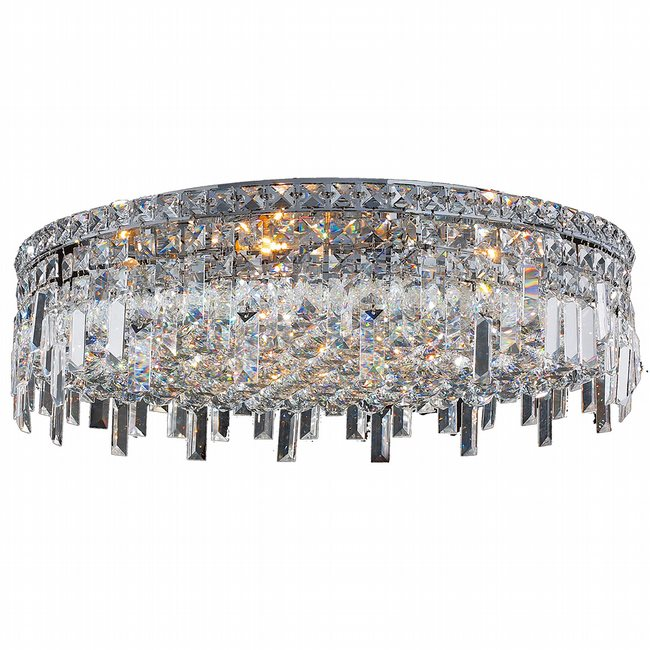 W33609C24 Cascade 9 Light Chrome Finish and Clear Crystal Flush Mount Ceiling Light