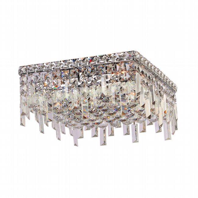 W33617C14 Cascade 4 Light Chrome Finish with Clear Crystal Ceiling Light