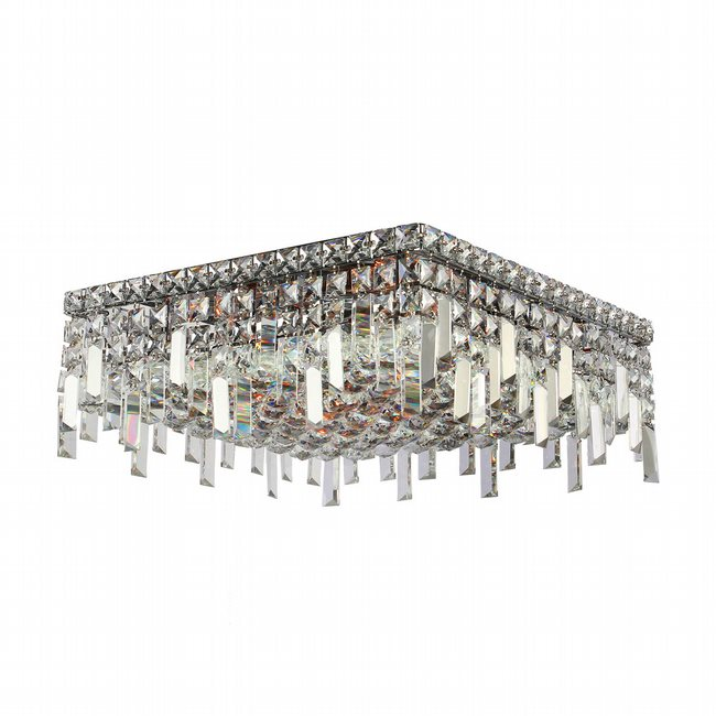 W33618C16 Cascade 6 Light Chrome Finish and Clear Crystal Flush Mount Ceiling Light