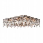 W33619C20 Cascade 12 Light Chrome Finish and Clear Crystal Flush Mount Ceiling Light
