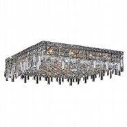 W33620C24 Cascade 13 Light Chrome Finish and Clear Crystal Flush Mount Ceiling Light