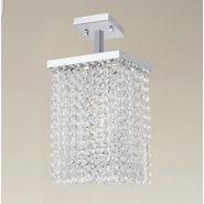 W33732C6 Prism 1 Light Chrome Finish Crystal String Semi Flush Mount Ceiling Light