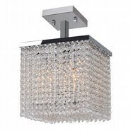 W33733C10 Prism 4 Light Chrome Finish Crystal String Semi Flush Mount Ceiling Light