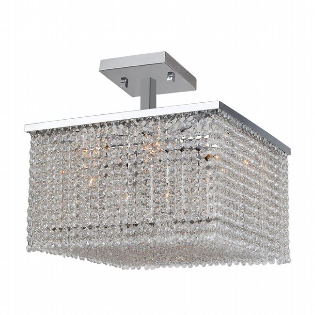 W33734C16 Prism 9 Light Chrome Finish Crystal String Semi Flush Mount Ceiling Light - Discontinued