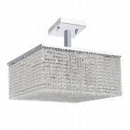 W33735C20 Prism 12 Light Chrome Finish Crystal String Semi Flush Mount Ceiling Light - Discontinued